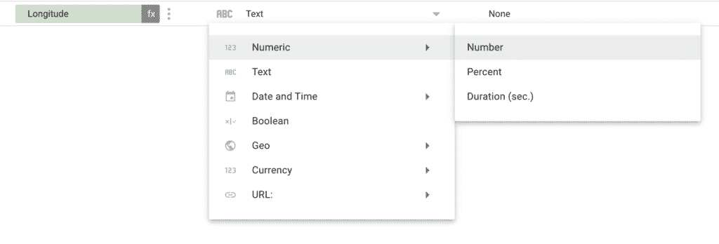 """Change data source field to type """"number"""""""